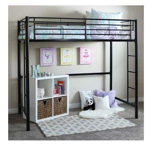 ($280 Retail) Walker Edison - Twin - Modern Metal Pipe Loft Bunk bed - Bedroom - Storage Guard Rail - Ladder - Black for Sale in Plainfield, IL