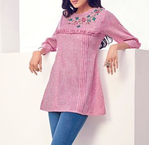 💕 NWT Pink floral embroidery 🧵 Indian Tunic size Small for Sale in Manchester, CT