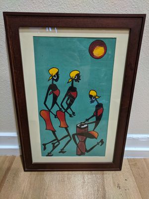 South African Painting on Canvas w/ Frame for Sale in Los Angeles, CA