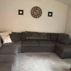 Large Charcoal Grey Sectional from Macy's for Sale in Gresham, OR