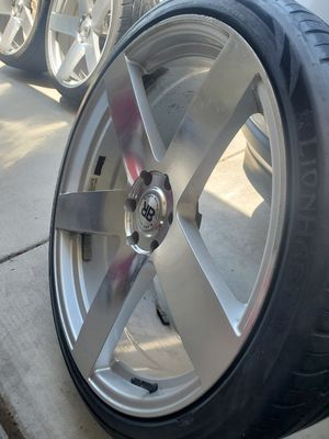 24 inch Black Rhino rims and tires for Sale in Merced, CA