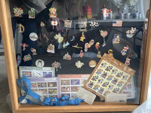 Shadow Box, Disney Trading Pins, Disney Stamp Collection for Sale in Fort Worth, TX