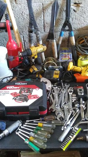 Just for Sunday. Tools...new sockets sets ratchets garden tools .4 blk. And decker hedge trimmers...shovels etc...ext. Cords ...straps. for Sale in Glendale, AZ