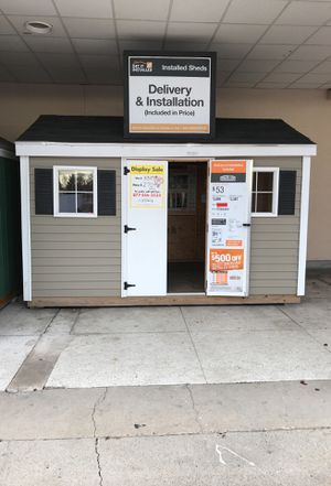 Sheds USA 8x12 Vinyl Classic Shed Display now on sale at the Home Depot in Elmont NY 11003 for Sale in Elmont, NY