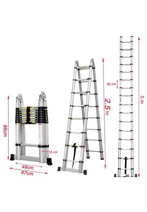 16.5ft Aluminum Telescoping Extension Ladder A-Frame Lightweight Portable Multi-Purpose Folding with Support Bar, 330lb Load Capacity for Sale in Fontana, CA