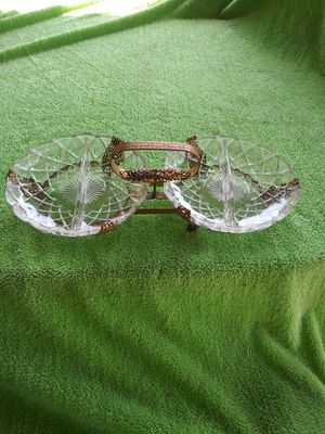 Antique/Collectable leaded glass decorative candy dish or hors d'oeuvres server dishes for Sale in Bloomington, CA