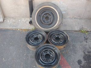 Four Chevy or GMC 15 inch 6 lug steel rims with clips for hub caps for Sale in Montebello, CA