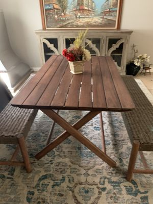 Farmhouse farm rustic kitchen dining table with 2 benches great for indoor outdoor area real wood for Sale in Peoria, AZ