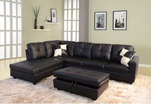 NEW black leather sectional couch on sealed box with ottoman and two pillows for Sale in Portland, OR