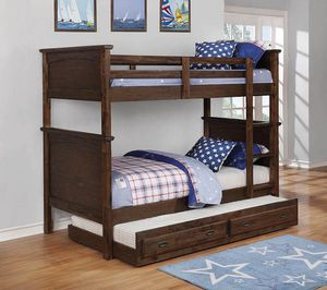 New Dalton twin 2 Pc bunk bed with trundle youth kids for Sale in Miami, FL