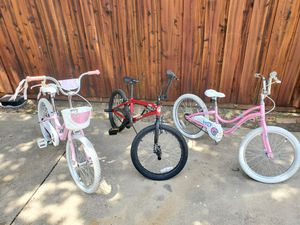 """Boys mongoose mode 90 BMX freestyle bike bicycle 20"""" asking 125 Dark pink girls trek mystic 20 s 20"""" bike Asking 125 Light pink for Sale in Allen, TX"""