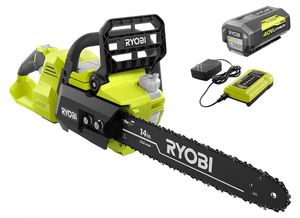RYOBI 14 in. 40-Volt Brushless Lithium-Ion Cordless Chainsaw, 4 Ah Battery and Charger Included for Sale in Hacienda Heights, CA