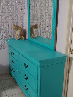 Turquoise Dresser With Mirror 6 Drawers And 2 Hidden Drawers for Sale in Carson,  CA