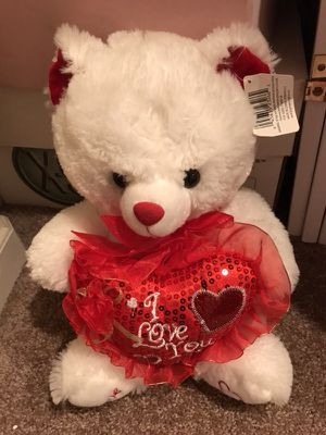 Stuffed bear with I love you heart with tag for Sale in Stockton, CA