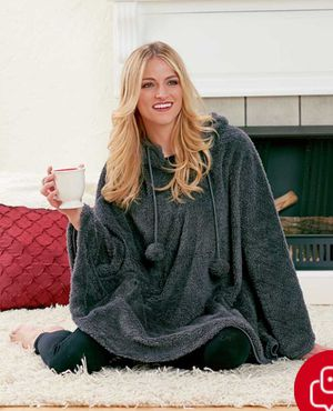 Women's Comfy Cozy Weekend Poncho makes it easy to kick back and relax. Made of super-soft sherpa, it's fully lined with a soft knit fabric. for Sale in Parsippany-Troy Hills, NJ