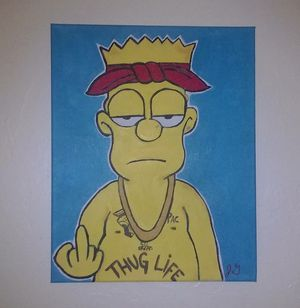 Bart Simpson as 2pac canvas painting for Sale in Cleveland, OH