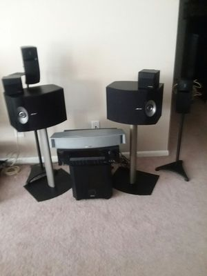I have 4 Bose speakers, 1 bose center channel speaker, 2 tecknics, onkyo reciver,,1 Boston acoustic sub woofer, stands for the speakers. for Sale in Willowick, OH