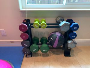 Free weights dumbbells with rack for Sale in Sunrise, FL