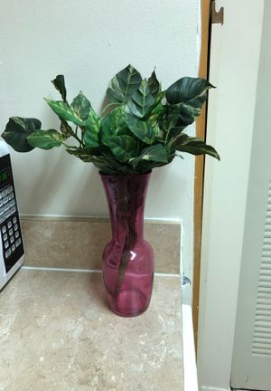 Pink Flower Vase with fake plant inside for Sale in Gahanna, OH