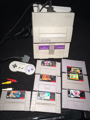 Super Nintendo SNES AND Super Advantage Arcade Controller TURBO,1 controller,7 games AND Sharp TV for Sale in Springfield, PA
