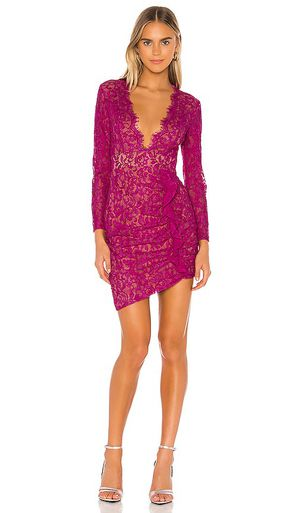 Majorelle Hot Pink Long Sleeve Lace Dress Ruching Nude Underslip Sz XS for Sale in Tampa, FL