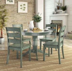 Lexington 5-Piece Wood Dining Round Table and 4 Ladder Back Chairs, Dark Sea Green for Sale in Sugar Land, TX