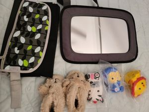 Baby accessories,car mirror for infants,baby change pad,rubber toys new,teddy slippers $12 total🖤 for Sale in Henderson, NV