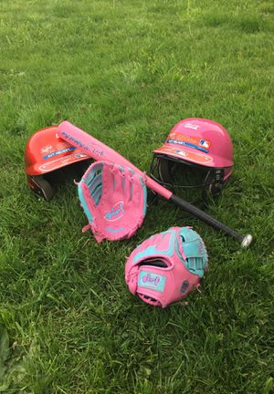BASEBALL KIT: 2 AVT Baseball Helmets, 2 Pink Wilson Girls T-Ball Gloves, & 1 Pink Wilson Softball Bat (CAN BE SOLD SEPARATELY) for Sale in Woodburn, OR