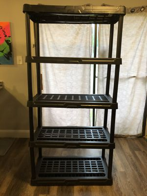 Yah were here Black Adhustable 5- Shelf Shelving Unit Storage. Size 11.8x59.1 inch for Sale in Arlington, TX