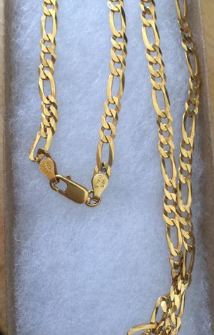 925 Italian Sterling Silver Diamond cut Figaro chain plated with 24k gold for Sale in West Covina, CA