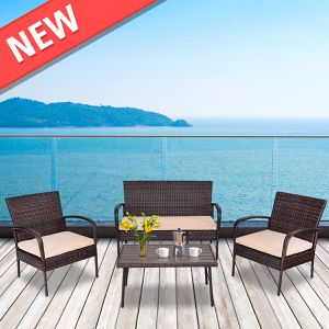 4PCS Patio PE Rattan Wicker Table Sofa Furniture Set for Sale in Philadelphia, PA