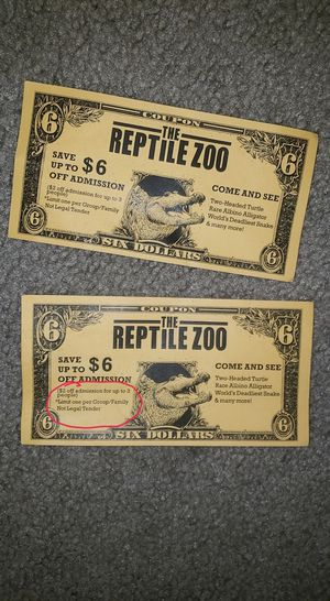 Reptile Zoo coupon for Sale in Everett, WA