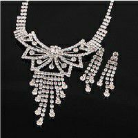 Clear White Austrian Rhinestone Crystal Necklace Butterfly Tie Floral Necklace Earring Wedding Jewelry Set for Sale in Fort Lauderdale, FL