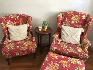 Two wingback chairs and one ottoman for Sale in FL, US