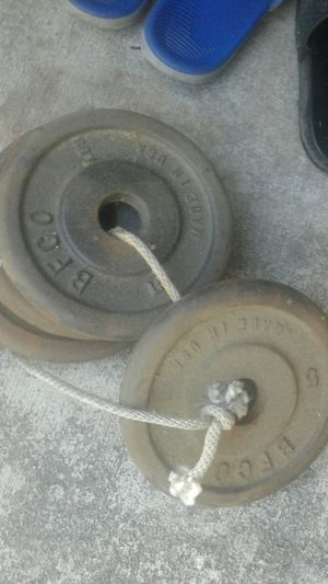 Four 5 pound barbell weights for Sale in Woodland, CA