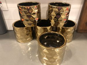 6 CERAMIC ARCHITECT POT flower vase GOLD for Sale in Tacoma, WA