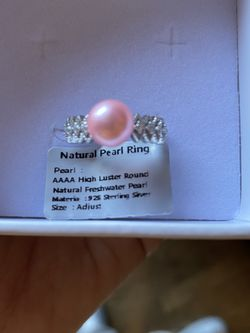 AAAA Natural Freshwater Dyed Baby Pink Pearl Sterling Silver Adjustable Ring for Sale in St. Charles,  IL