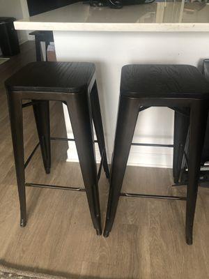 Metal bar stools, wood top for Sale in Atlanta, GA