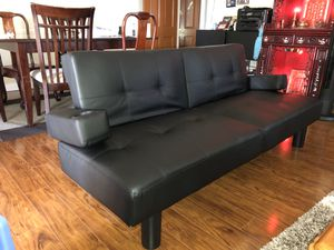 Genuine Black Leather Futon for Sale in Alhambra, CA