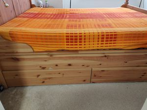 Ikea( Hardul) queen bed (frame + midbeam +slats+ 4 drawers) for Sale in Bethesda, MD