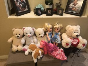 3 build a bears 2 Cinderella 1 teddy bear 1 my little pony 1 stuffed animal for Sale in Fresno, CA