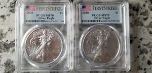 (2) 2020 1 oz American Silver Eagles PCGS MS70 for Sale in Tigard, OR