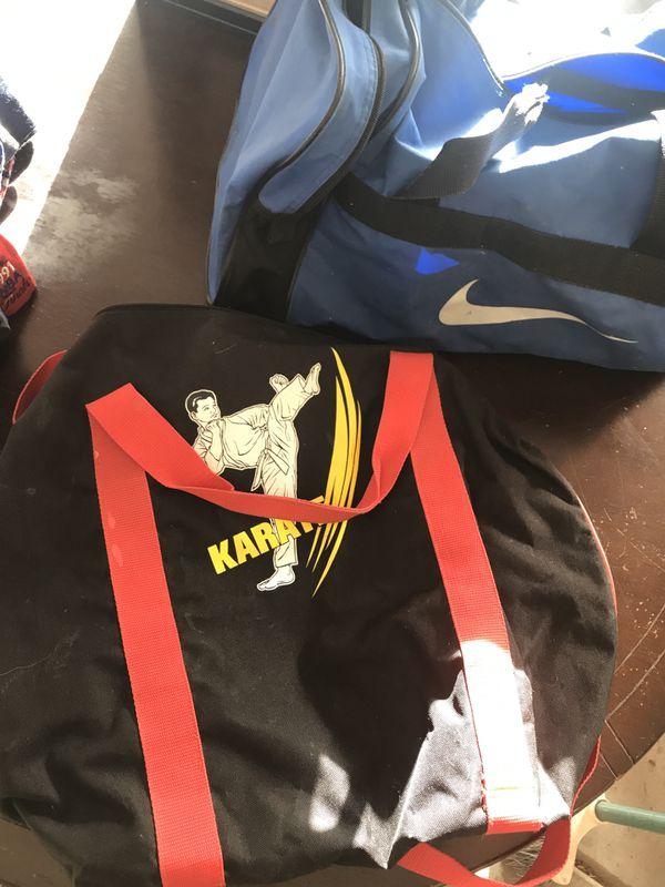 Nike and karate duffle bags