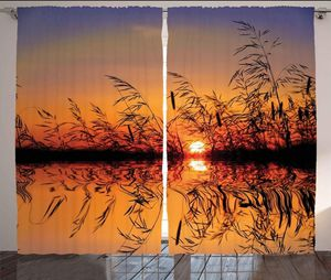 Curtains 108 x 63 Sunset Over Lake Living Bed Room Panel Set Photo Backdrop Nature Home Decor for Sale in Orlando, FL