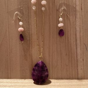Amethyst Rose Quartz Moonstone 14 Inch Necklace Earrings Set for Sale in Lancaster, OH