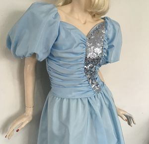 1980's Vintage Prom Dress Baby Blue Size 10-12 (will include Corsage and Men's baby blue Cumberbund and Bowtie) for Sale in Miami, FL