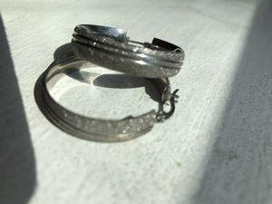 Stainless steel silver sandy diamond cut shine hoop earrings new. $50 for Sale in Fresno, CA