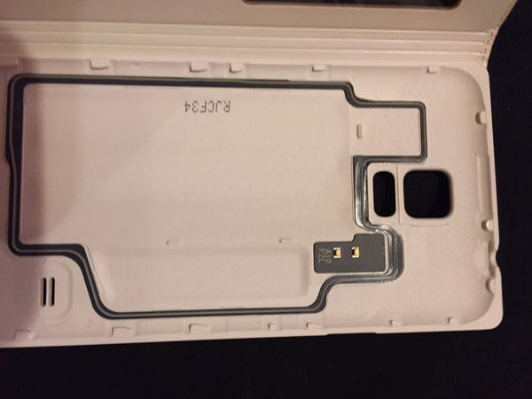 Samsung Galaxy S 5 white leather protective case $10