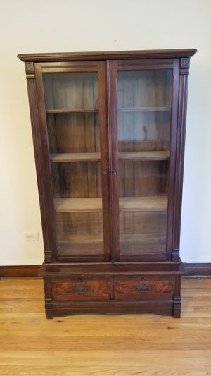 Antique Victorian Walnut and Burl Walnut Eastlake Bookcase Display Cabinet for Sale in Chicago, IL