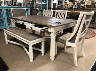 Best Offer 🎗Bolanburg Antique White/Oak Dining Room Set | D647 byAshley 6-Piece (Table+4 Side Chairs+Bench for Sale in Wilmington,  DE